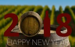 Celebración del Año Nuevo con el vino 2018 Imágenes de archivo libres de regalías