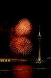 Celebración del Año Nuevo con los fuegos artificiales Fotografía de archivo libre de regalías