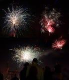 Celebración del Año Nuevo con los fuegos artificiales Imagenes de archivo