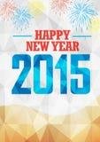 Celebración 2015 del Año Nuevo con los fuegos artificiales en fondo geométrico Imagenes de archivo