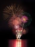Celebración del Año Nuevo de los fuegos artificiales Fotos de archivo