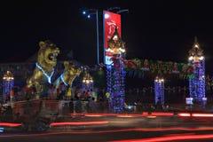 Celebración del Año Nuevo del khmer en Sihanoukville en el cuadrado de los Golden Lions Imágenes de archivo libres de regalías
