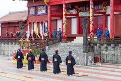 Celebración del Año Nuevo en el castillo de Shuri en Okinawa, Japón Fotografía de archivo libre de regalías