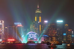 Celebración del Año Nuevo en Hong Kong 2016 Imagen de archivo libre de regalías