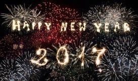 Celebración del Año Nuevo 2017 - fuegos artificiales Fotos de archivo