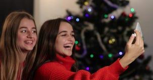 Celebración del Año Nuevo 4K Dos muchachas toman el selfie en el smartphone que se sienta en el sofá antes de un árbol de navidad almacen de video