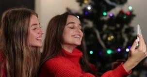 Celebración del Año Nuevo 4K Dos muchachas toman el selfie en el smartphone que se sienta en el sofá antes de un árbol de navidad metrajes