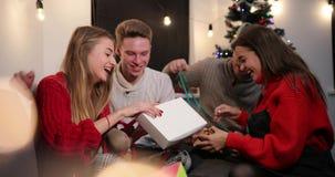 Celebración del Año Nuevo 4K Dos pares celebran antes de un árbol de navidad e intercambian sus presentes por uno a almacen de metraje de vídeo