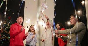 Celebración del Año Nuevo Magdalenas con las velas en soporte de los números 2019 en la tabla antes de celebrar alegre de la comp almacen de metraje de vídeo