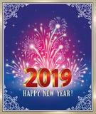 Celebración del Año Nuevo 2019 Tarjeta de felicitación con los fuegos artificiales ilustración del vector