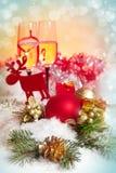 Celebración del Año Nuevo y de la Navidad. Dos vidrios de Champán en HOL Foto de archivo