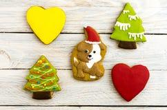 Celebración del año del perro Perro de la Navidad y un árbol de navidad Fotografía de archivo