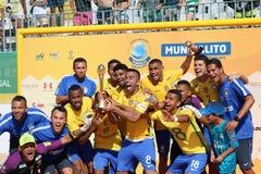 Celebración del Brasil - equipo Carcavelos 2017 Portugal Foto de archivo libre de regalías