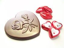 Celebración del chocolate de la tarjeta del día de San Valentín Imágenes de archivo libres de regalías