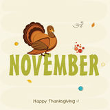 Celebración del día de la acción de gracias con el pájaro y el texto del pavo stock de ilustración