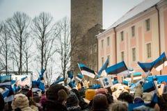 Celebración 2018 del Día de la Independencia de Esotonia en Tallinn, Estonia Fotografía de archivo