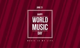 Celebración del día de la música del mundo de la bandera del estilo ilustración del vector