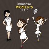 Celebración del día de las mujeres internacionales con las chicas jóvenes Fotos de archivo libres de regalías