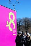 Celebración del día de las mujeres internacionales en Moscú imagenes de archivo