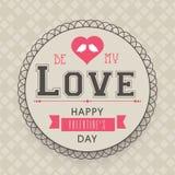 Celebración del día de tarjeta del día de San Valentín con el marco redondeado Fotos de archivo