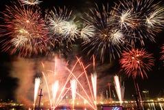 Celebración del festival de los fuegos artificiales de Singapur Fotografía de archivo