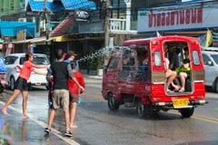 Celebración del festival de Songkran, el Año Nuevo tailandés en Phuket Foto de archivo
