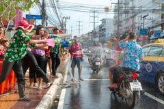 Celebración del festival de Songkran, el Año Nuevo tailandés en Phuket Fotos de archivo libres de regalías