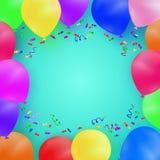 Celebración del fondo con los globos y el confeti coloridos Imagenes de archivo