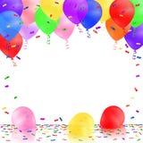 Celebración del fondo con los globos y el confeti coloridos Fotografía de archivo