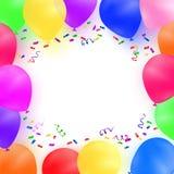 Celebración del fondo con los globos y el confeti coloridos Imagen de archivo libre de regalías