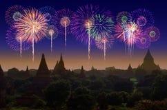 Celebración del fuego artificial en la ciudad vieja Bagan foto de archivo libre de regalías