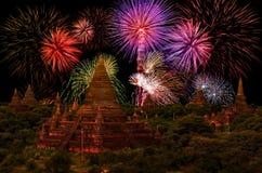 Celebración del fuego artificial en la ciudad vieja Bagan imagen de archivo libre de regalías