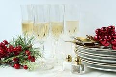 Celebración del partido de cena de la Feliz Navidad foto de archivo libre de regalías