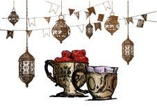 Celebración del partido de Ramadan Kareem Iftar, ejemplo dibujado mano del vector del bosquejo Imagen de archivo libre de regalías
