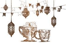 Celebración del partido de Ramadan Kareem Iftar, ejemplo dibujado mano del vector del bosquejo Fotografía de archivo