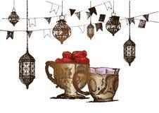 Celebración del partido de Ramadan Kareem Iftar, ejemplo dibujado mano del vector del bosquejo Fotos de archivo
