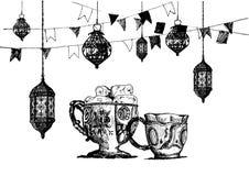 Celebración del partido de Ramadan Kareem Iftar, ejemplo dibujado mano del vector del bosquejo Fotografía de archivo libre de regalías