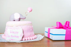 Celebración del primer cumpleaños Torta Imagen de archivo