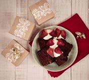 Celebración del regalo y de la comida de la Navidad Imagen de archivo