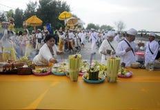 Celebración del rezo del melasti en la ciudad de Semarang Imagen de archivo libre de regalías