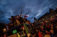 Celebración del triunfo de Francia contra Bélgica imagen de archivo