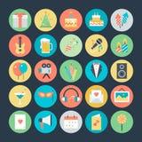 Celebración e iconos coloreados partido 1 del vector Fotografía de archivo libre de regalías