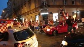 Celebración en capital croata después de la FIFA final 2018 mundiales almacen de metraje de vídeo