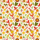 Celebración en México, blanco inconsútil del ond del modelo, comida, sambrero, tequila, cactus de Cinco de Mayo Ilustración del v