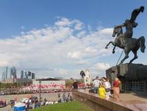 Celebración en Victory Park en la colina de Poklonnaya Imágenes de archivo libres de regalías