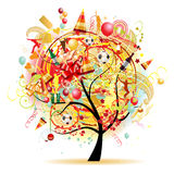 Celebración feliz, árbol divertido con símbolos del día de fiesta Fotos de archivo libres de regalías