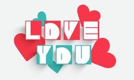 Celebración feliz del día de tarjeta del día de San Valentín con los corazones libre illustration