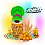 Celebración feliz del festival del Punjabi de Baisakhi stock de ilustración