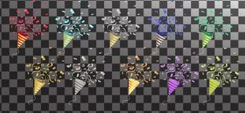 Celebración, ideas de los conceptos de los fondos del partido con el confe colorido stock de ilustración
