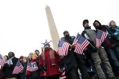 Celebración inaugural en el monumento de Washington Fotos de archivo